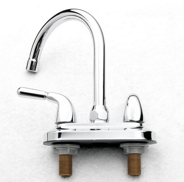 Modern Shaped Two Handles Deck Mounted Bathroom Sink Faucet