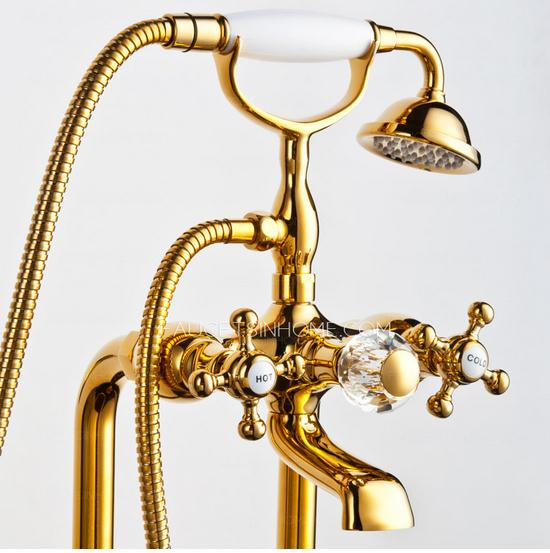 Golden Vintage Handle Freestanding Bahttub Faucet