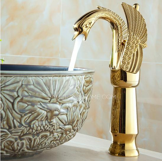 Vessel Style Bathroom Sinks : Gold Swan Design Bathroom Sink Faucet : $117.99/ Save 69% off