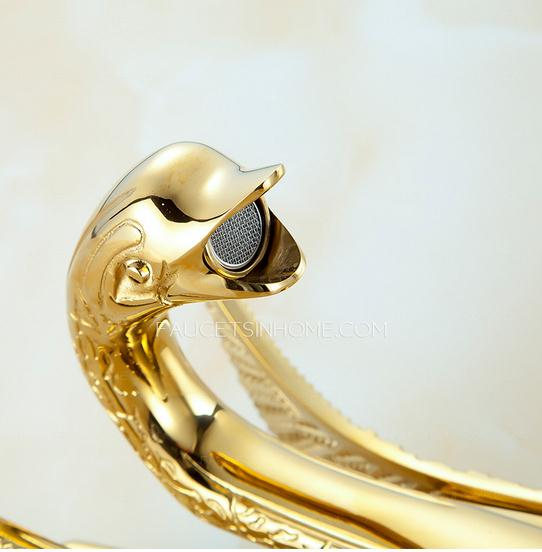 Gold Swan Design Bathroom Sink Faucet