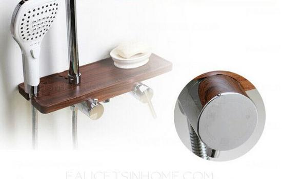 Shower Faucet With Wooden Shelf