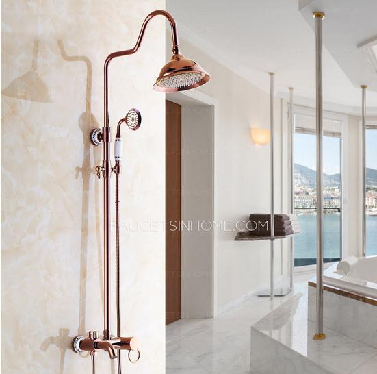 Retro Rose Gold Ceramic Shower Faucets