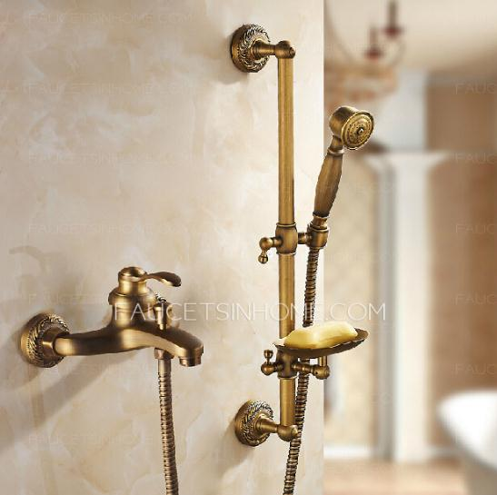 Antique Brass Exposed Tub And Shower Faucet