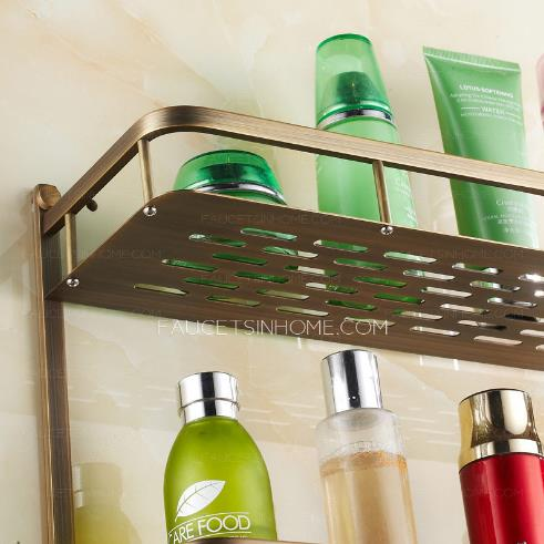 Double layer wall mounted bathroom shelves