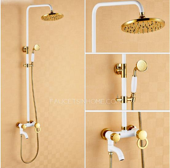 Chic White Painting Brass Shower Faucets