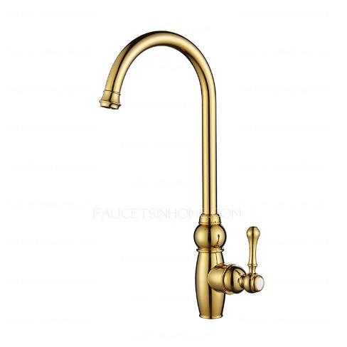 Polished brass kitchen sink faucets