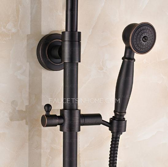 Black Cross Handle Exposed Shower Faucet