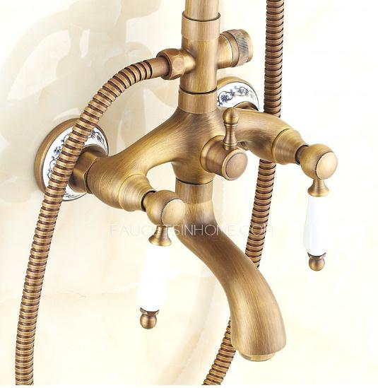 Antique Brass Ceramic Outdoor Shower Faucets