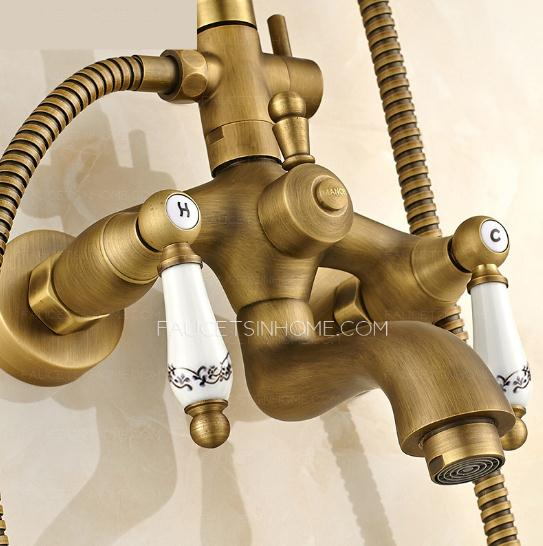 Antique Brass Lotus Top Shower Faucet System
