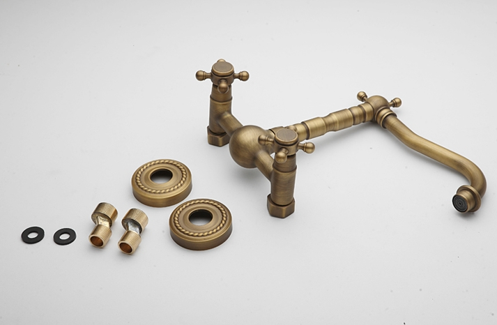 Antique Brass Wall Mount Kitchen Faucets