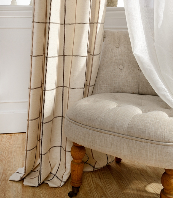 Modern Coffee and Beige Plaid Curtains