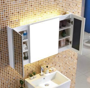 Solid Wood Concealed Wall Mount Bathroom Mirror Storage Cabinet