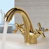 Vintage Gold Two Cross Handles Bathroom Sink Faucet