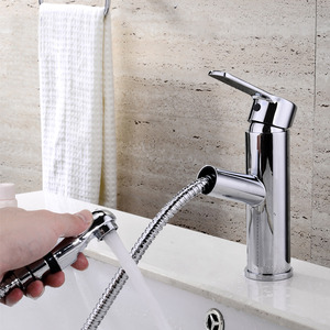 Convenient Pullout Spray Deck Mounted Bathroom Sink Faucet