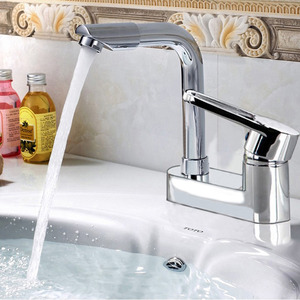 Simple Two Holes Deck Mounted Bathroom Sink Faucet