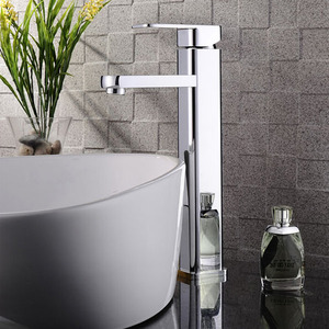 High End Top Mounted Square Vessel Bathroom Sink Faucet