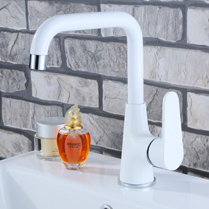 Perrty White Painted Seven Shaped Bathroom Sink Faucet