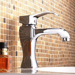 Shiny Heavy Silver Square Bathroom Sink Faucet