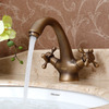 Vintage Short Neck Two Cross handles Bathroom Sink Faucet