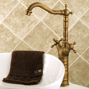 Antique Vessel Two Cross Handles Bathroom Sink Faucet