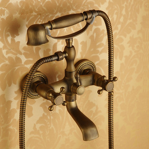Discount Antique Brass Sitting Type Wall Mount Bathtub Faucet