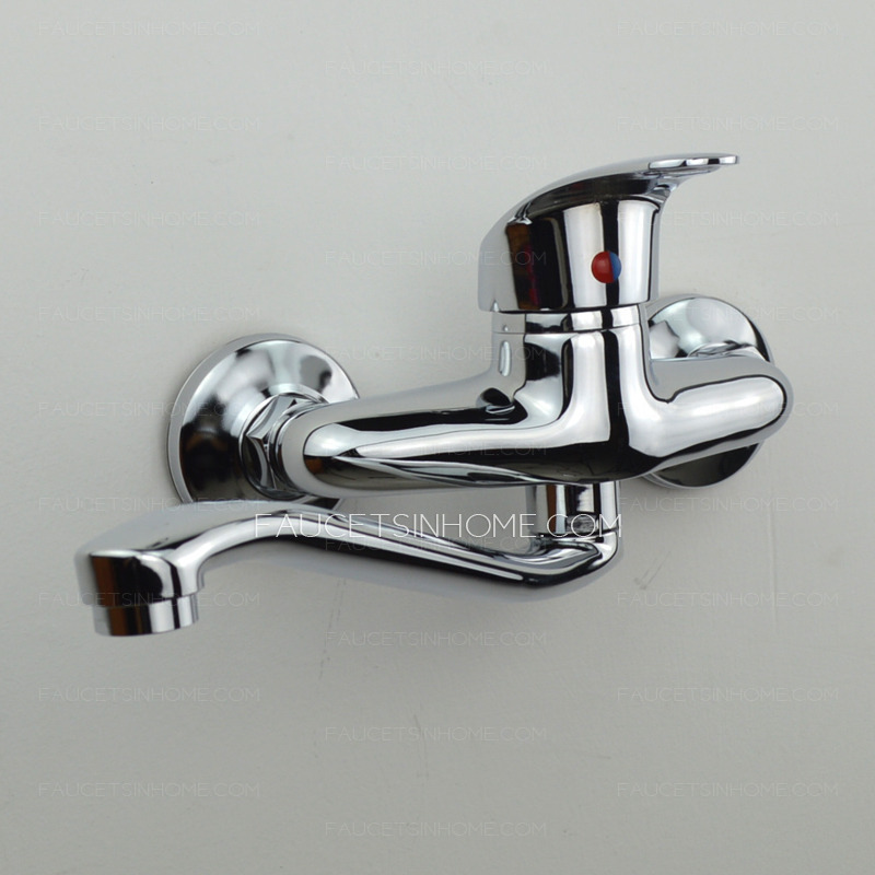 Classic Single Handle Two Holes Wall Mounted Kitchen Faucet
