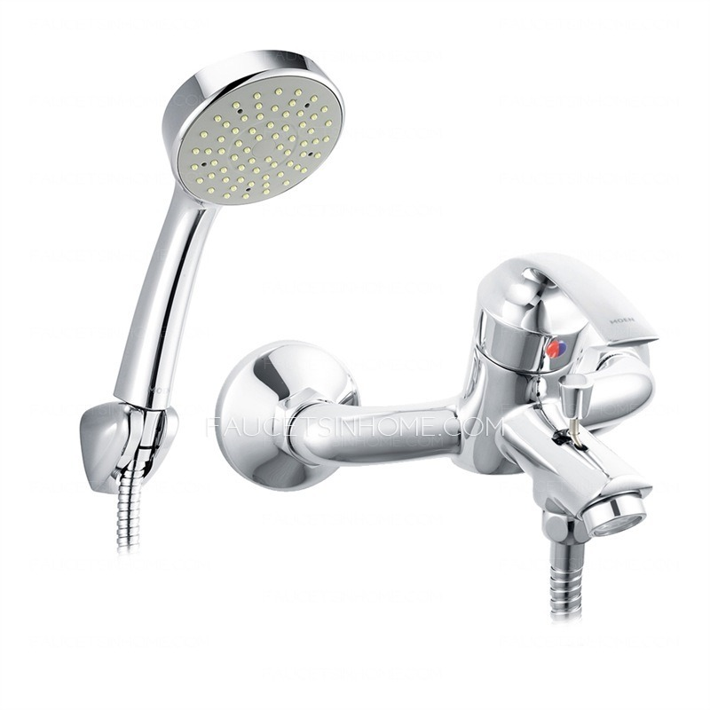modern shower faucet set with single handle and hand shower