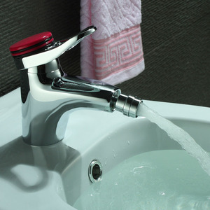 Fashion Red Handle Bidet Faucet With Deck Mounted