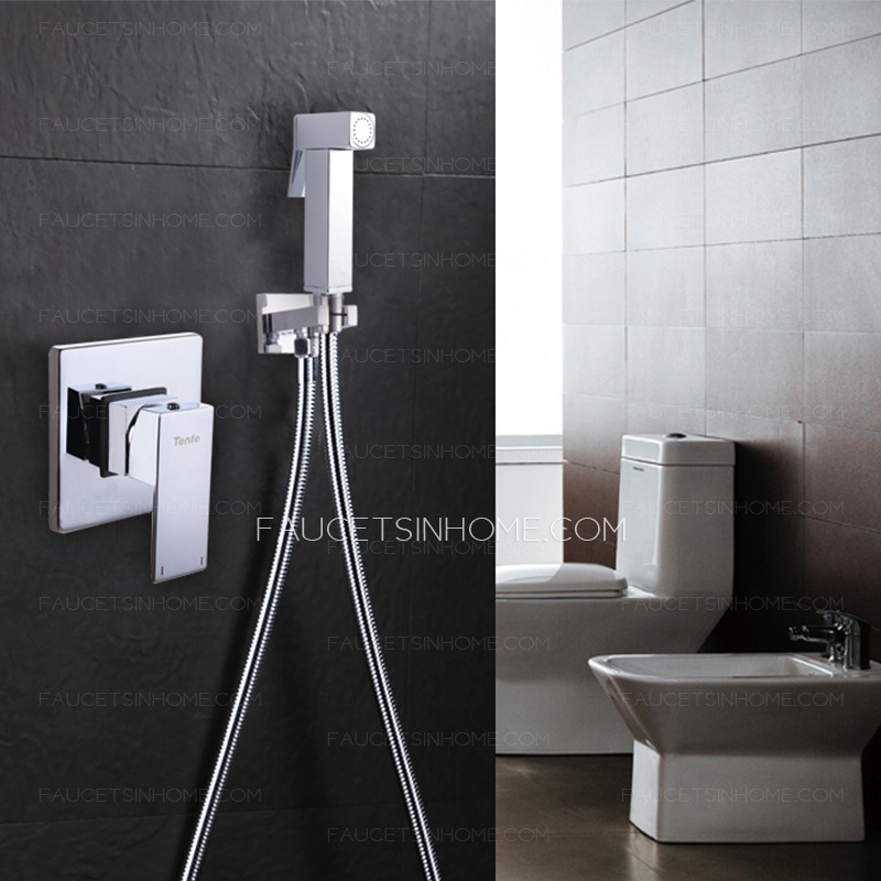 Luxury Wall Mounted Brass Bidet Faucet With Hand Held Spray