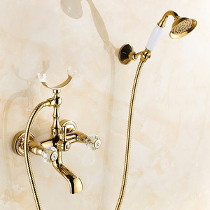 Vintage Gold Two Handle Bathtub Shower Faucet
