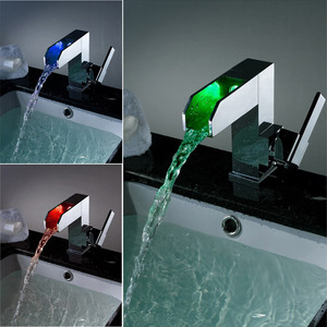 High End LED Waterfall Single Handle Bathroom Faucet