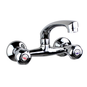 Best Two Holes Two Handles Wall Mounted Kitchen Sink Faucet