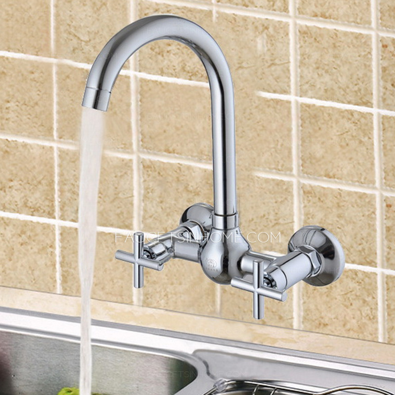 Unique Kitchen Faucet Of two Cross Handles and Wall Mounted
