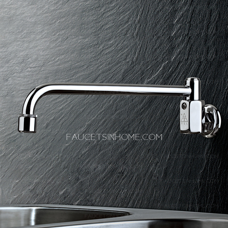 Hands Free Kitchen Faucet: Best Wall Mounted Thick Brass Hands Free Kitchen Sink Faucet