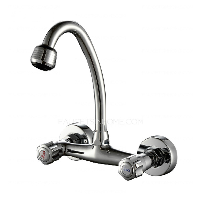 cheap cooper wall mounted two holes kitchen sink faucet cheap rotatable kitchen sink faucet of two handles