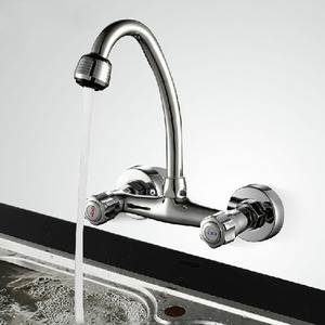 Cheap Cooper Wall Mounted Two Holes Kitchen Sink Faucet
