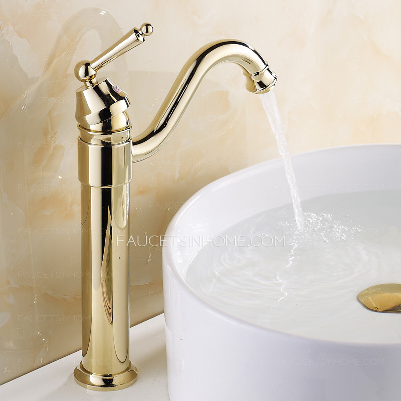 Retro Gold Vessel Heightening Brass Bathroom Sink Faucet Bathroom Shower Curtain Sets For