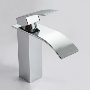 Luxury Waterfall Brass Square Shaped Bathroom Sink Faucet