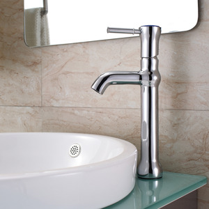 Modern Tall Brass Vessel Deck Mounted Bathroom Sink Faucet