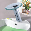 Fashion Waterfall Glass Deck Mounted Automatic Touchless Sink Faucet