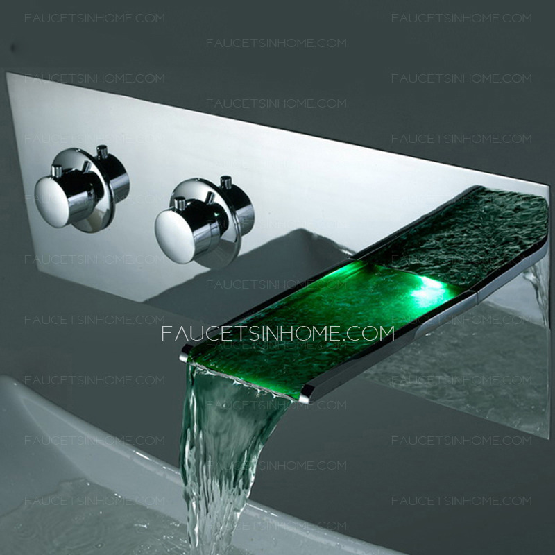 High End Wall Mounted Waterfall LED Sink Faucet
