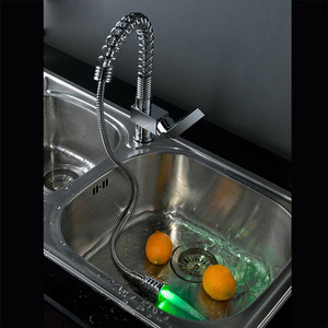 Convenient Pullout Spray Rotatable LED Kitchen Sink Faucet