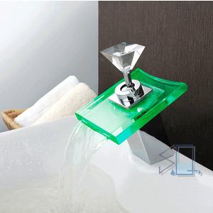 Cheap Waterfall Brass LED Bathroom Sink Faucet