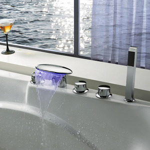 High End Brass Hand Held Shower In Waterfall Bathtub Faucet