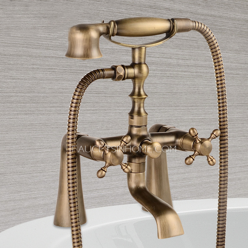 Antique brass sitting bathtub faucet with hand held shower Antique brass faucet bathroom