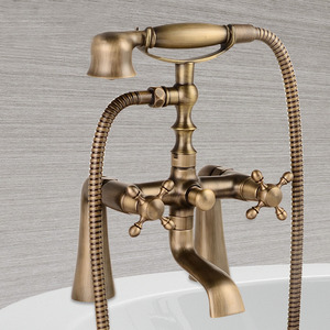 Antique Brass Sitting Bathtub Faucet With Hand Held Shower