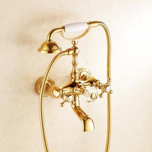 Vintage Rose Gold Finish Wall Mount Bathtub Shower Faucet