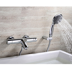 Simple Brass Two Handles Bathtub Faucet Without Shower