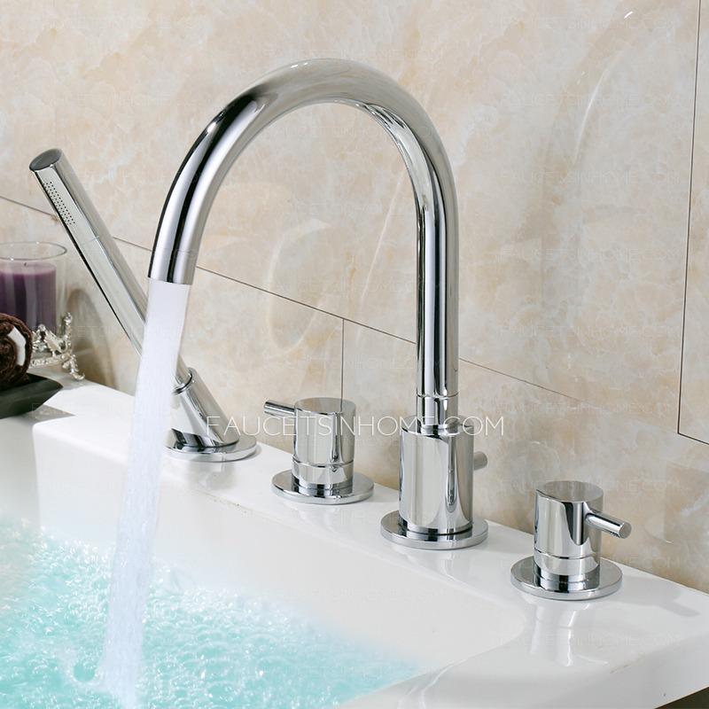 High End Rotatable Sidespray Roman Tub Bathtub Faucet