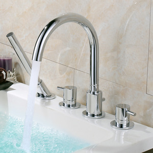 High End Rotatable Sidespray Roman Tub Bathtub Faucet